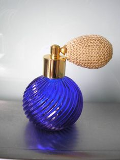Vintage Perfume Bottle Vintage Atomiser Cobalt Glass Collectible Glassware Fragrance Bottle Vanity Scent Bottle Boudoir by CrystalPearlJewelry