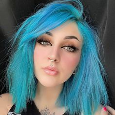 Mesmerized by @horrorhailey with this stunning turquoise bob. Use Cyan Sky + Sea witch for this gorgeous color #lunartides #cyansky #bluehair #turquoisehair Dyed Hair Blue, Turquoise Hair, Beautiful Hair Color, Teenage Girl Outfits, Hair Trends, Hair Makeup, Hair Cuts, Hair Beauty, Witch Hair
