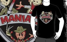 Maniacs Designed by Ratigan  Who is your favourite horror icon,they are all here in this cool tee. I really like the cartoon style of this tee