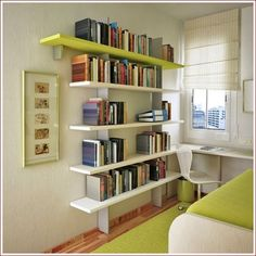 Storage Ideas For Small Spaces: Small Bedroom Interior Design . Small Apartment Bedrooms, Apartment Interior, Apartment Design, Small Apartments, Studio Apartments, Apartment Therapy, Apartment Ideas, Bookshelves For Small Spaces, Bookshelves In Bedroom