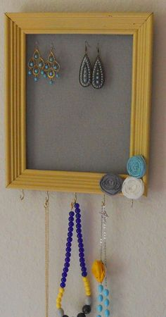 Framed Jewelry Holder...a great gift for someone moving into a dorm, sorority house or apartment!  $28