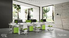 Awesome Gray Wall Colors For Modern Office Design With White Green Paint Furniture Set As Well Wide Glass Window And Ceramic Tile Floor What are the best wall colors for modern offices? http://seekayem.com