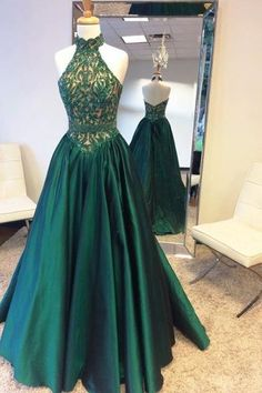 Beads Long High Neck Halter Prom Dress with Open Back