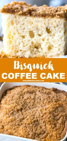 This incredible Bisquick Coffee Cake recipe is sweet and nostalgic, bringing you back to Grandma's kitchen with every bite. Bisquick Coffee Cake Recipe, Bisquick Recipes, Biscuit Recipe, Breakfast Cake, Best Breakfast, Breakfast Recipes, Breakfast Ideas, Breakfast Muffins, Breakfast Casserole