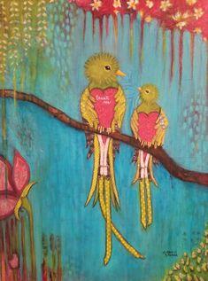 Mixed media painting #kimberlymccormick #beautyforashesartanddecor #artbykimberly #mixedmediaart #birds #quetzalcoatl #christianart #animalart