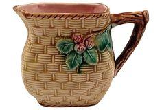 English Basket-Weave Creamer - Heather Cook Antiques : English Basket-Weave Creamer