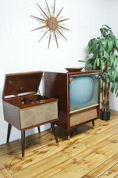 Vintage 50s 60s Admiral Console Television TV Black White. $349.00, via Etsy.