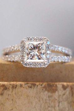 Princess Cut Diamond Engagement Ring with Halo