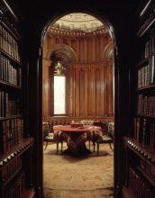 The Library to the circular study in The Library Tower at Penrhyn Castle, Gwynedd, Wales