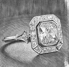 Design sketch for an antique style Art Deco engagement ring. A bezel set cushion with a deco milgrain edged halo and fleur de lis shoulder. To have one custom made for you contact Rare Earth Jewelry at www.rareearthjewelry.com