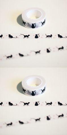 1Roll=15mm*10M Japanese Washi Decorative Adhesive Tape Little cat pattern Masking Paper Tape Diary Sticker Gift Free shipping