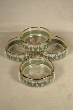 Greek Ashtrays 4 Green Jasperware Jeanette Glass Company