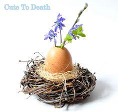 Cute To Death: Wielkanocny wazonik z natury... czyli jajko w ptas...