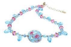 "Venetian Glass Fiorato ""Rose"" Necklace by Yumi Chen"