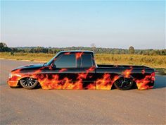 Read about this air bagged and stock floor body dropped custom 1994 Ford Ranger mini truck that has the hottest paint job around in Mini Truckin' Magazine. Bagged Trucks, Lowered Trucks, Mini Trucks, Hot Rod Trucks, Cool Trucks, Chevy Trucks, Pickup Trucks, Cool Cars, Car Paint Jobs