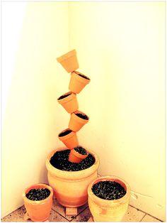 Tilted garden pots