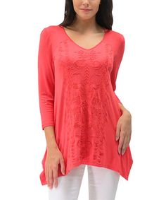 Loving this Living Coral Embroidered Azura Handkerchief Tunic - Women on #zulily! #zulilyfinds