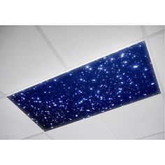 ThinkGeek :: Insta-Sky Office Light Diffusers. IN LURVE!!!!  you get to choose between the nighttime star scene or the daytime cloud scene. Personally, I like the cloud one and you don't have to stare at those ugly florescent office lights all day. Gonna have to get these.