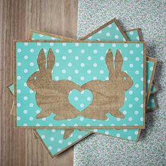 Easter bunny wooden greeting card love postcard by WoodberryUA