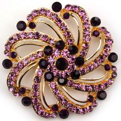B34 GORGEOUS FLOWER CRYSTAL RHINESTONE PIN BROOCH. PUPLE, GREEN, RED, PINK COLOURS.
