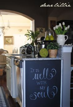 Love the side of cabinet w/ chalkboard paint.  Love this blog!