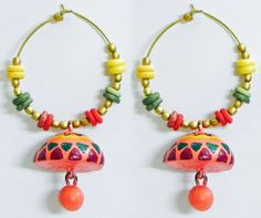 Pair of Hand Painted Green with Red Design on Saffron Terracotta Ring with Jhumka Earrings (Terracotta)