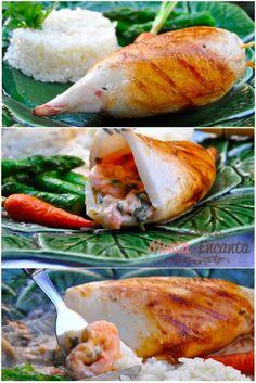 Lulas na plancha recheadas de camarão ao catupiry, acompanhadas por carrots e aspargos na manteiga com um arroz branco fresquinho bem branquinho e bem soltinho. Poucas coisas são mais agradáveis qu…