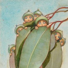 Front cover, from Gum-nut Babies, 1916 May Gibbs, Watercolour, PXD 304/1/1 'Gum-nut Babies' was the first in a series of five wildflower baby booklets by May Gibbs, published by Angus  Robertson.