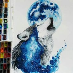 Extremely beautiful painting ideas. This one is wolf and blue moon. More animals with their natural habitat painted in them. Gorgeous. Please also visit www.JustForYouPropheticArt.com for more colorful art you might like to pin. Thanks for looking!