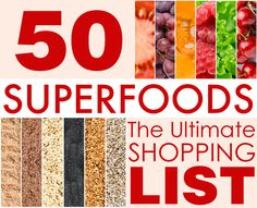 50 Superfoods For Weight Loss. #cleaneating #healthy #foods #shopping #list