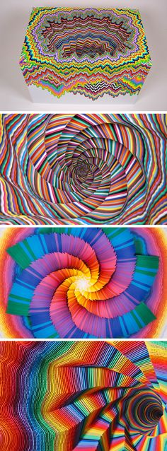 Spiraling Rainbow Vortexes Created From Layered Paper by Jen Stark