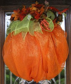 Deco Mesh PUMPKIN WREATH.