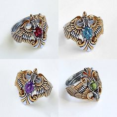 Phoenix Bird Ring. Ring with gemstones. Fire ring от RuyaN на Etsy