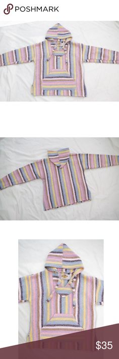 """Pastel Vintage Colorful Baja Hoodie Jacket Vintage. Rare. Earth Rags Kids. Kids Large, Womens Xsmall/Small. Good condition minimal wear no significant flaws. Light colorful pastel colors. Thick drug rug baja knit hoodie jacket with pocket pouch in front. Measurements: Length: 20"""" Bust: 35"""" Shoulder: 18.5"""" Sleeve: 18""""  FREE SURPRISE GIFT WITH EVERY ORDER! Fast shipping! Price negotiable! Vintage Sweaters"""