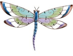 New Metal Purple Blue Stained Glass Dragonfly Wall Hanging Art Decor Sculpture | eBay