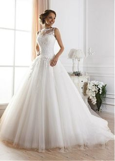 Ball Gown Glamorous Tulle Jewel Neckline Cheap Wedding Dresses With Lace Appliques