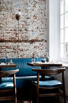 The Musket Room | New York blue banquette