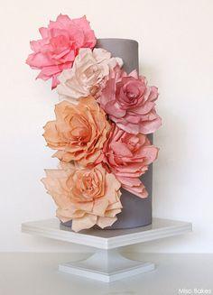 DIY Paper Rose Cake by Miso Bakes  |  TheCakeBlog.com