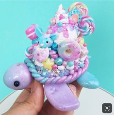 Hey everyone 😄💖 Just letting you know auction on Candy Dreamland turtle is Saturday (tomorrow) EST and will run till Monday Fimo Kawaii, Polymer Clay Kawaii, Polymer Clay Charms, Polymer Clay Creations, Polymer Clay Art, Polymer Clay Turtle, Polymer Clay Figures, Polymer Clay Animals, Crea Fimo
