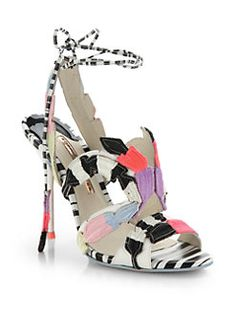 Sophia Webster - Carrie Leather Embroidered & Striped Sandals