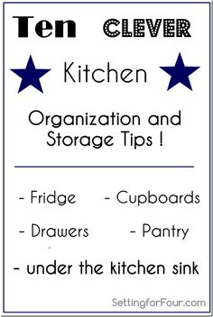 These are great tips! I need to do all of this because our kitchen is in serious need of organization! Ten Clever Kitchen Organiation and Storage Tips