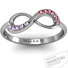 Infinity Ring with his and hers birthstones, and anniversary date. This would be perfect for everyday wear and save my wedding ring set for specially occasions! Ring Set, Ring Verlobung, Hand Ring, Mom Ring, Ring Cake, Bezel Ring, Ring Finger, Do It Yourself Fashion, Mother Rings
