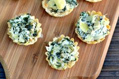 Mini spinach and artichoke dip bites  -can use cream cheese instead of goat cheese and garlic and onion powder instead of italian seasoning.