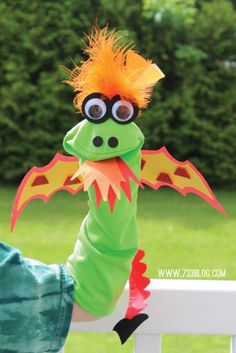 Dragon - Easy Sock Puppet Kid's Craft - seven thirty three