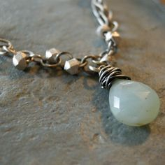 Thai silver beads and opals on leather cord by coldfeetjewelry, $60.00