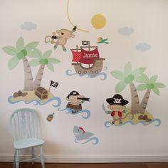 Pirate Monkey Wall Stickers - A nice pirate monkey wall sticker set