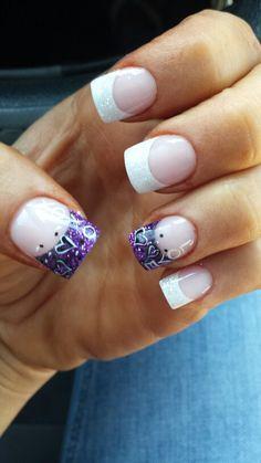 Love XOXO Purple White Glitter Nails. Perfect for the wedding Valentine's Day! !