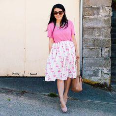 Pink Flamingo Midi Skirt | via I am Style-ish