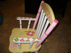 Hand Painted Personalized Child's Rocking Chair by hughese on Etsy