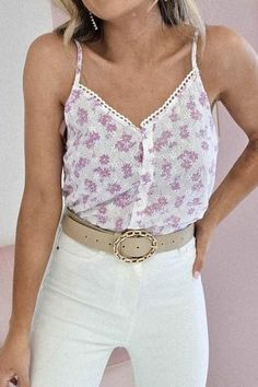 Oh Hello Clothing, Fabric Covered Button, Covered Buttons, Cami Tops, Cotton Lace, Lace Detail, Lilac, White Shorts, Camisole Top